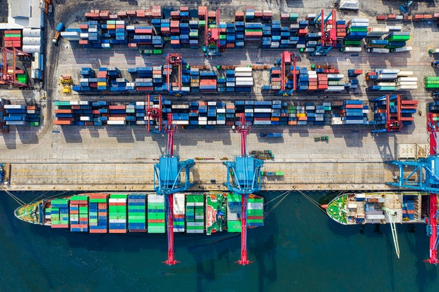 náklad, přístav, loď, kontejnery